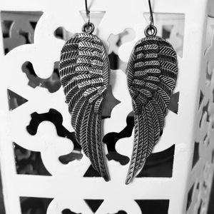 Silver Angel wing earrings dangle earrings
